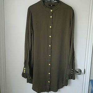 Missguided army dress with gold button detail NWT